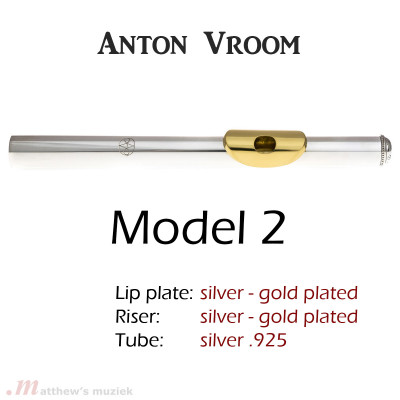 Anton Vroom Flute Headjoint - Sterling Silver  with Gold Plated Lipplate - Style 2