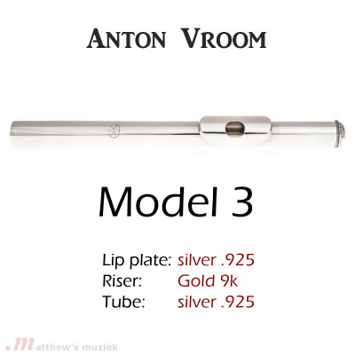 Anton Vroom Flute Headjoint - Sterling Silver with 9k Gold Riser - Style 3