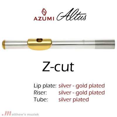 Azumi Z1 Flute Headjoint - Silver and Gold Plated